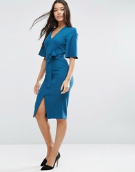 Asos Clean Obi Wrap Dress With V Front Teal Green