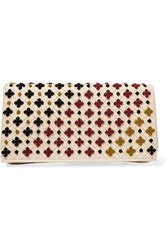 Bottega Veneta Embroidered Intrecciato Leather Clutch Ivory Ivory Burgundy