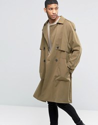 Asos Twill Trench Coat With Oversized Storm Flap Stone