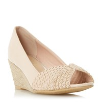 Linea Currio Peep Toe Espadrille Wedge Shoes Nude