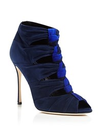 Sergio Rossi Divine Cutout Peep Toe Booties Navy