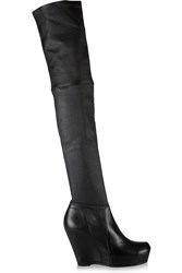Rick Owens Stretch Leather Thigh Boots Black