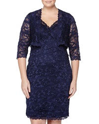 Marina Lace Cocktail Dress With Matching Jacket Navy