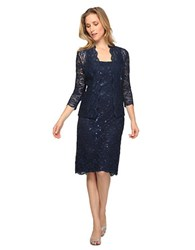Alex Evenings Plus Sequined Lace Dress And Jacket Navy
