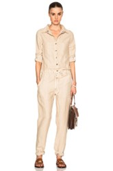 Enza Costa Long Sleeve Jumpsuit In Neutrals