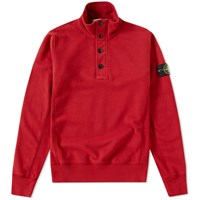 Stone Island Garment Dyed Zip And Button Sweat Red