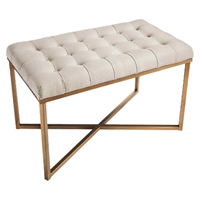 Threshold Tufted Bench Buff Beige And Gold