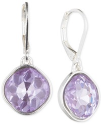 Nine West Silver Tone Purple Glass Stone Teardrop Earrings