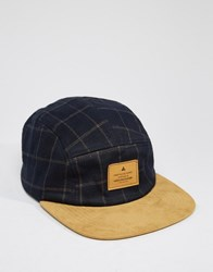 Asos 5 Panel Cap In Check Navy Blue