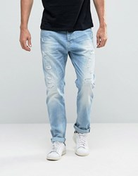 Scotch And Soda Ripped Loose Fit Jeans Blue