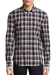 John Varvatos Cotton Plaid Shirt Black White