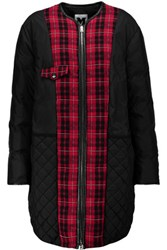 M Missoni Plaid Trimmed Shell Down Coat Black