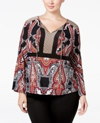Inc International Concepts Plus Size Paisley Print Peasant Blouse Only At Macy's Deep Black