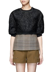 3.1 Phillip Lim Floral Cloque Houndstooth Hem Puff Sleeve Top Multi Colour