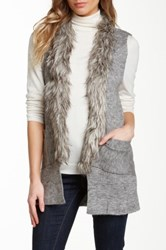 Papillon Faux Fur Trim Vest Gray