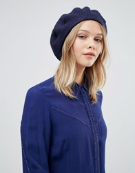 Warehouse Wool Beret Hat Navy