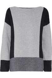 Vince Color Block Wool And Cashmere Blend Sweater Stone