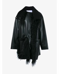 Paco Rabanne Shearling And Leather Coat Black White