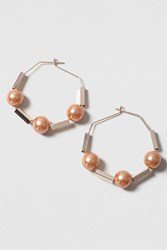 Topshop Pearl Hexagon Hoop Earrings Purple