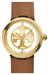 Tory Burch 'Reva' Leather Strap Watch 36Mm Luggage Gold