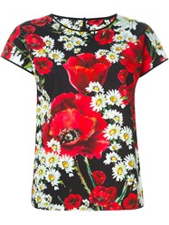 Dolce And Gabbana Daisy And Poppy Print Top Black
