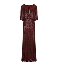Jenny Packham Sequin Cape Gown Female Red