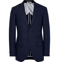 Club Monaco Blue Grant Puppytooth Linen Suit Jacket Blue
