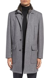 Cole Haan Men's Pressed Melton Wool Blend Overcoat With Removable Faux Fur Trim