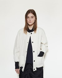 Marni Stripe Bomber Jacket Silk White
