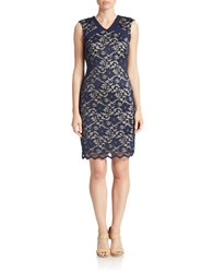 Belle By Badgley Mischka Lace Overlay Sheath Dress Navy