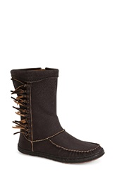 Ugg 'Hyland' Moccasin Mid Boot Women Black Brown Leather