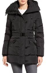 Michael Michael Kors Women's Faux Fur Trim Belted Down And Feather Fill Parka