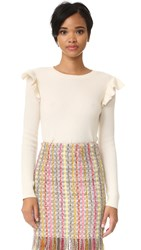 Chinti And Parker Side Ruffle Cashmere Sweater Cream