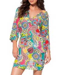 Anne Cole Bold Paisley Mesh Cover Up Tunic Pink Multi