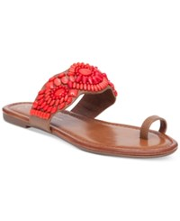 Jessica Simpson Razzel Toe Ring Embellished Flat Sandals Women's Shoes Truffle Brown W Coral Stones