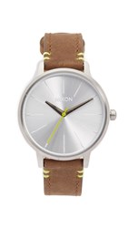 Nixon Kensington Leather Watch Brown Lime