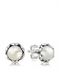 Pandora Design Pandora Stud Earrings Sterling Silver And White Pearl Cultured Elegance