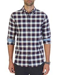 Nautica Slim Fit Seedpearl Plaid Shirt Anchor Blue
