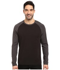 Kenneth Cole Cotton Tech Color Block Long Sleeve T Shirt Black Men's T Shirt