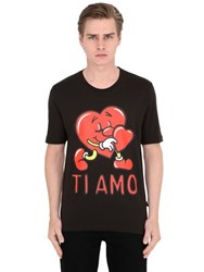 Love Moschino Heart Print Cotton Jersey T Shirt