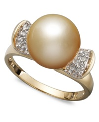 Macy's 14K Gold Ring Cultured Golden South Sea Pearl 10Mm And Diamond 1 8 Ct. T.W. Ring