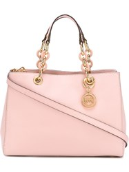Michael Michael Kors Chain Hand Straps Medium Tote Pink And Purple
