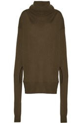 Maison Martin Margiela Mm6 Wool And Cashmere Blend Sweater Army Green