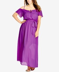 City Chic Plus Size Cold Shoulder Peasant Maxi Dress Kapow