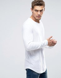 Esprit Longline Longsleeve T Shirt With Curved Hem White 100