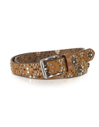 Forzieri Brown Studded Leather Belt