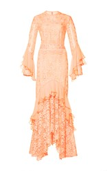 Costarellos Guipure Lace Ruffle Sleeve Dress Pink