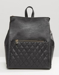 French Connection Backpack With Quilted Pocket Black