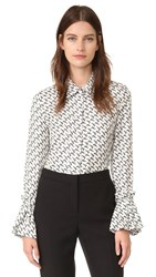 Salvatore Ferragamo Printed Top White Black