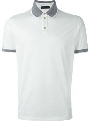 Etro Contrast Collar Polo Shirt White